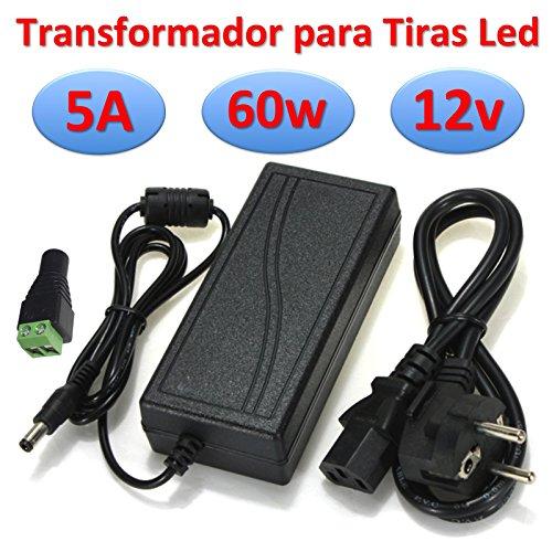 Ahorraluz Transformador DC Alimentador para Tiras Led Fuente de Alimentación 220v (12v 5A 60w), Negro