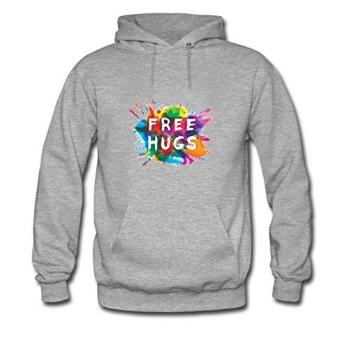 HKdiy Free Hugs Custom Men's Printed Hoodie Gray-2