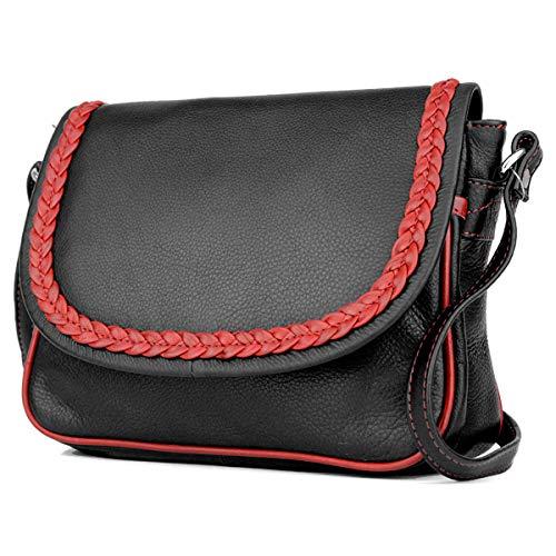Damen-Clutch Handtasche Mini Clutch kleine Umhängetasche mit Flecht-Rand Crossbody Echt-Leder 19968 (Schwarz Rot)