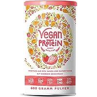 Vegan Protein | ERDBEER | Pflanzliches Proteinpulver aus gesprossten Reis, Erbsen, Chia-Samen, Leinsamen, Amaranth, Sonnenblumen- und Kürbiskernen | Mit Verdauungsenzymen | 600 Gramm Pulver