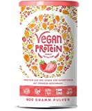 Vegan Protein | ERDBEER | Pflanzliches Proteinpulver aus gesprossten Reis, Hanfsamen, Erbsen,...