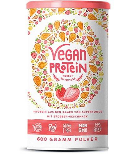 Vegan Protein | ERDBEER | Pflanzliches Proteinpulver aus gesprossten Reis, Hanfsamen, Erbsen, Chia-Samen, Leinsamen, Amaranth, Sonnenblumen- und Kürbiskernen | Mit Verdauungsenzymen | 600 Gramm Pulver (Shake Cremig)