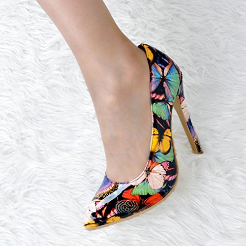 Kolnoo Femmes Handmade 10cm Patchwork Slip On Grandes tailles Talon Pompes Chaussures Black Black