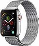 Apple Watch Series 4 (GPS + Cellular) Edelstahlgehäuse ohne SIM-Lock, kompatibel mit iPhone 6 und höher, 44mm, Stainless Steel Case with Milanese Loop
