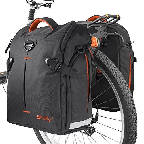 BV Fahrradgepäcktasche (Paar), Clip-On Quick Release Fahrradtasche mit abnehmbaren Schultergurten und Allwetter-Regenabdeckungen, Quick Release Hook - Orange
