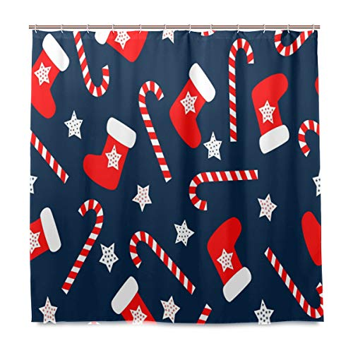 , Weihnachts-Socken-Muster, schimmelresistent, wasserdicht, Polyester, 12 Haken, 182,9 x 182,9 cm, Heimdekoration ()