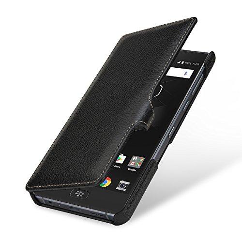 StilGut Book Type Lederhülle für BlackBerry Motion. Seitlich klappbares Flip-Case aus Echtleder, Schwarz mit Clip