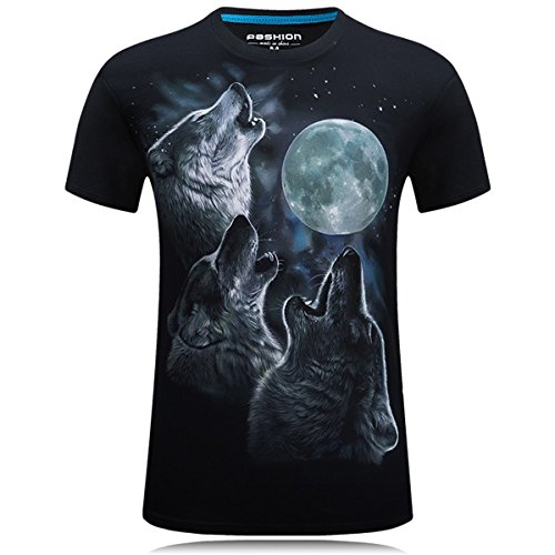 jarlif Mens tre Lupo e luna o collo a maniche corte Tshirts Black (Wall Street Skeleton)