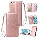 iPhone 6S Plus Hülle Wallet für iPhone 6S Plus Rosegold HUDDU Neun Kartenfächer PU Schutzhülle Doppelt Flip Cover Tasche Hand