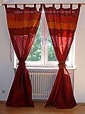 Orientalischer Vorhang Schlaufen Schal Stoff Fenster Deko Indien 110 cm x 250 cm, Farbe rot