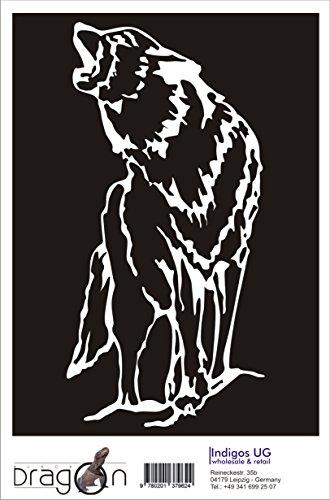T-Shirt Herren - WOLF - Howling Dog Coyote Schwarz