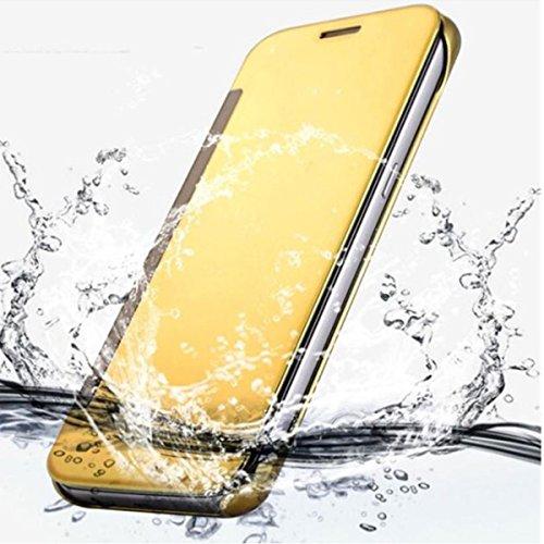 SVS EXCLUSIV SPIEGEL für APPLE iPhone 6 / 6s Cover Flip Case Tasche Handy Schutz Hülle Cover Case Schale (iPhone 6, Gold) Blau