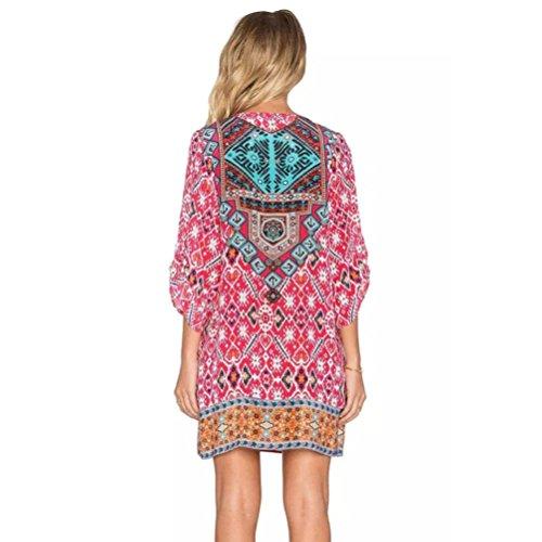 Robes, Malloom® Femmes 3/4 manches motif géométrique Vintage Impression Loose Robe d'été Caractéristiques de l'objet Rose vif