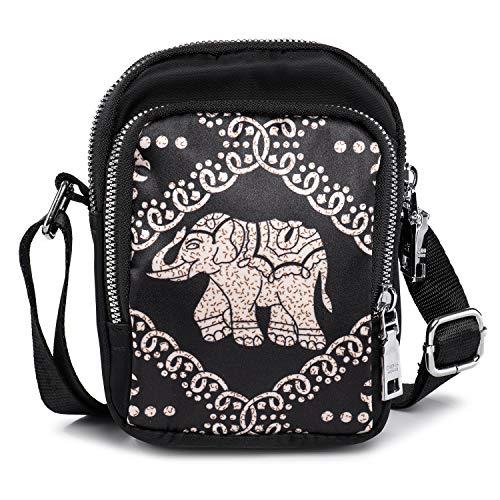 Bolso Bandolera Pequeño con 3 Cremallera - Bolso Teléfono Movil 5 5 Pulgadas iPhone 6S - Mni Bolso Cruzado Mujer Chicas - Bolsa de Ocio de Nailon (Patrón de Elefante)