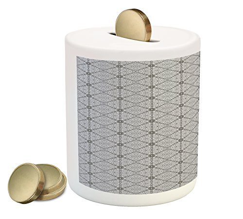 Gypsy Coin Box Bank by Lunarable, Abstract and Geometric Shapes with Stripes Hand Drawn Style Brush Strokes, Printed Ceramic Coin Bank Money Box for Cash Saving, Pale Grey and Black