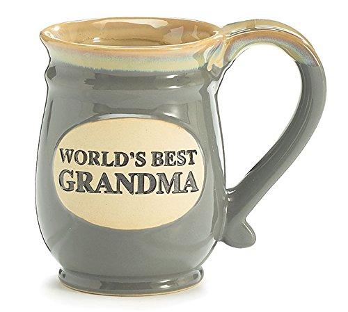 burton+BURTON Kaffeetasse Worlds Best Oma heißen Tee Tasse grau Porzellan 14 Oz mit Tan, Vintage Keramik-Look-Geschenk-Idee 4 1/2 H x 5 1/2 W x 4 D Grau, grau, Tan, weiß, Elfenbein, Beige