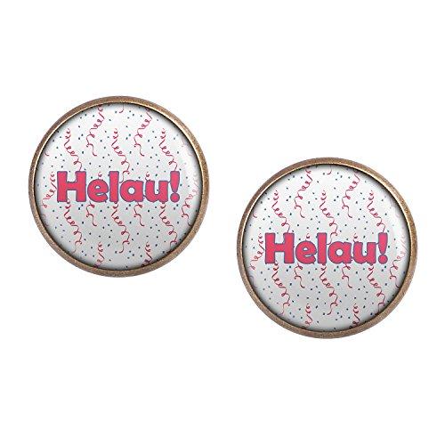 ar mit Motiv Helau Karneval Pink Blau Weiß Konfetti bronze 16mm ()