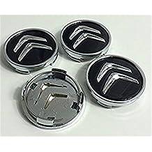 Juego de 4 tapacubos para Citroën, de 60 mm, tapas para llantas para C2, C4, C5, C6, de color negro con el logo cromado (60 mm)