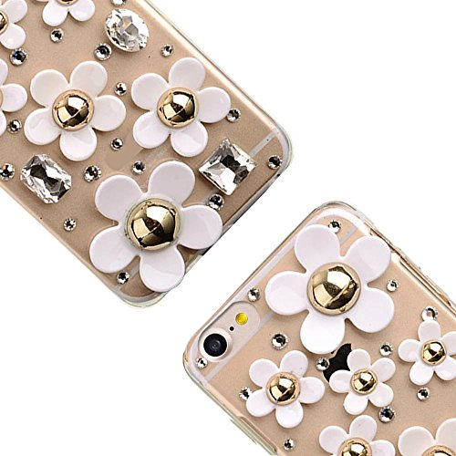 Bling Bling iPhone 7 Hülle, MOMDAD Diamant Glitzer Glänzend Handmade Schutzhülle für iPhone 7 Handyhülle Transparent PC Hart [Spiegel Mirror Blume Pearl Perle] Case Cover Luxus Crystal Strass Shining  Diamond # 2