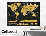 Collwood Weltkarte zum Freirubbeln schwarz gold 80x60cm