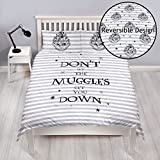 HARRY POTTER Ensemble Housse de Couette Double Double Face réversible Inscription en Anglais « Don't Let The Muggles »