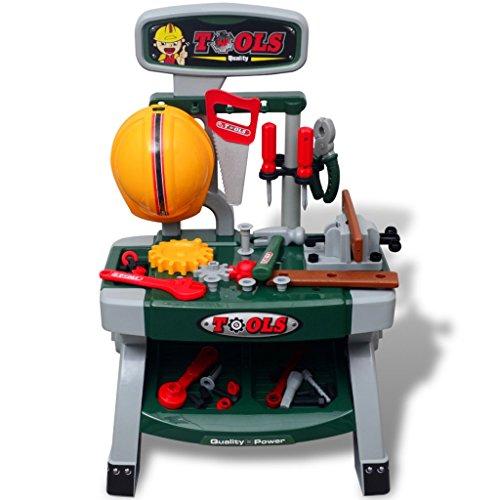 Festnight Kunststoff Kinderwerkbank Werkzeugbank mit Werkzeugen Grün + Grau 44 x 28 x 71 cm für Kinder ab 3 Jahren