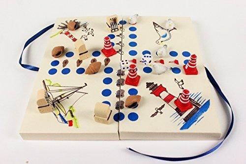 Preisvergleich Produktbild Maritimes Würfelspiel Brettspiel 2-4 Personen Gesellschaftsspiel Holz Leuchtturm Muschel Strandkorb Möwe Figuren