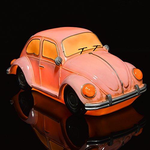 Amazlab Vintage Beetle 6LED auto lampada: Camera/Nightlamp/comodino luce lampada da tavolo/scrivania, stile retrò in blu, luce bianca calda, USB + Lanterna a batteria, 4ore Timer... Pink