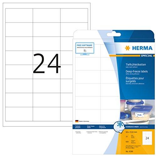Herma 4389 Tiefkühletiketten für Gefriergut (66 x 33,8 mm) weiß, 600 Aufkleber, 25 Blatt DIN A4 Papier matt, bedruckbar, stark selbstklebend