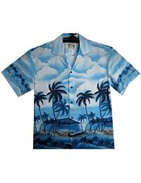 KY's| Chemise Hawaïenne D'Origine | Pour Hommes | S - 8XL | Manche Courte | Poche Avant | Hawaiian-Imprimer | Palm Trees | Plage | Bleu