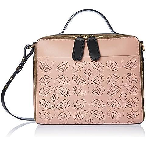 Orla Kiely Sixties Stem Punched Leather Iris Bag Dusky Pink