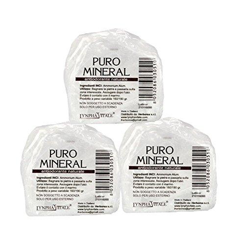 Deodorante naturale in allume di ammonio - 3 pietre grezze antiodoranti 3 x 160/190 gr - allume di potassio puro mineral