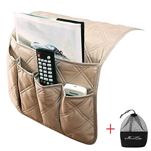 IPENNY Couch Sofa Armlehne Organizer Stuhl TV Fernbedienung Halterung Bett Storage Tasche für Handy Tablet Notizblock Buch Zeitschriften DVD, Tränke Snacks Halter Tasche Beige (5 Pockets) (Getränke-halter Für Stuhl)