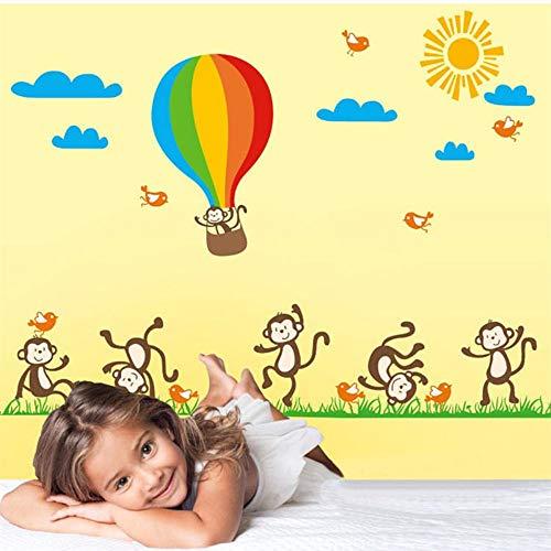 Freche Affe Heißluftballon Wandaufkleber Diy Green Grass Wolken Vogel Decor Kinder Schlafzimmer Tapete Vinyl Abnehmbare Wandtattoo (Arabische Freche Mädchen)
