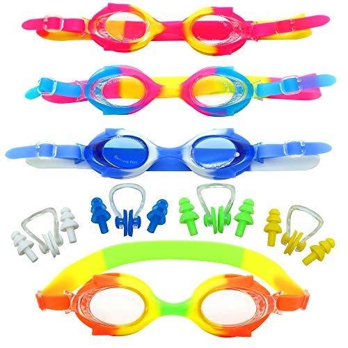 4er-Pack Kinder Schwimmbrille mit Ohrenstöpsel & Nasenklemmen - Anti-Fog mit UV-Schutz Junior Swimming Goggles - Perfekt für Jungen Mädchen Sommer Spaß Pool Strandaktivitäten, Training & Sport. -