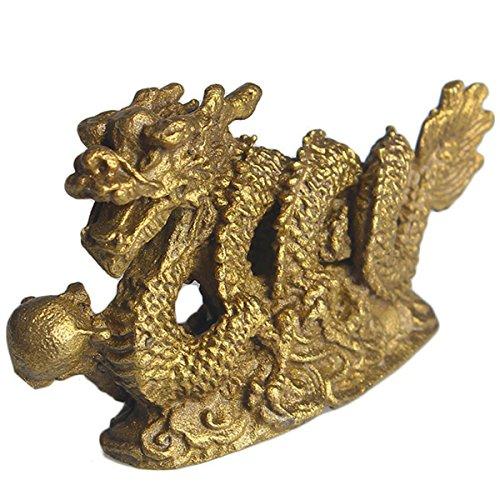 Photo Gallery brass statu mini millennium dragon figurine in ottone a mano lucky feng shui collezione regalo 6*1.8*3.5cm