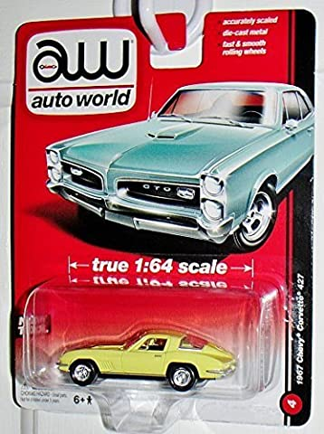 Auto World 1967 Chevy Corvette 427 Yellow #4 Accurate 1:64 Scale Highest Quality Collectible ... by Auto World