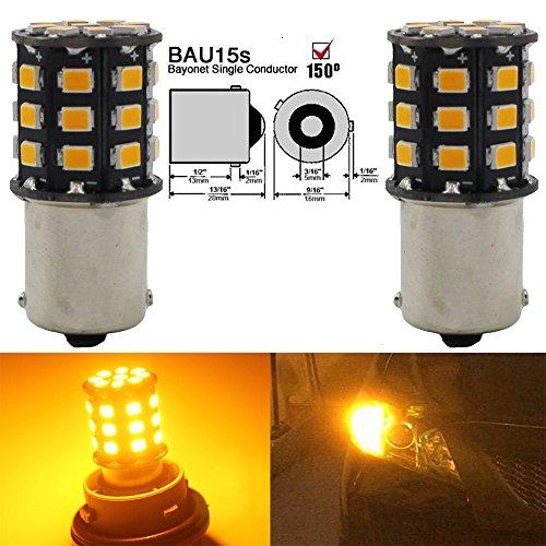 2-Pack 1056 BAU15S 7507 12496 Extrem helles Bernstein / Gelb Nicht-Polarität LED Licht 10-30V-DC, 2835 33 SMD Auto-Ersatz für Blinker Lampen Schwanz-Backup-Parkbirnen Tail Birne (Was Für Eine Helle Ersatz-birne)