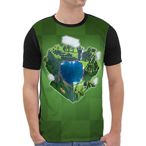 VOID Mine Globe Grafik T-Shirt Herren All-over Druck anime sword schwert würfel spiel game, Größe:XS