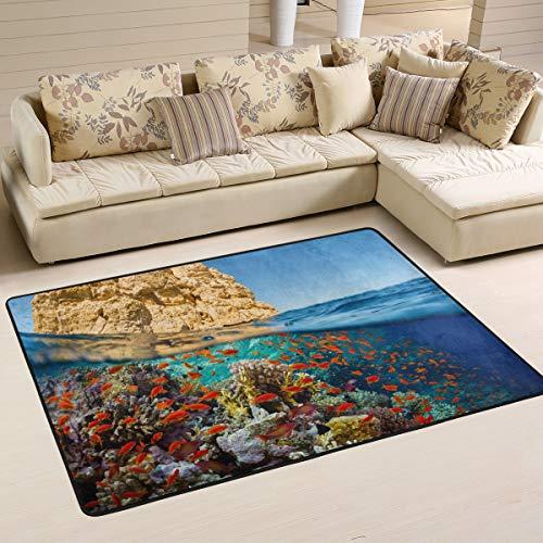 XiangHeFu Teppiche Fußmatten Sea Reef Coral Fish Weichen Teppich Matte 6'x4 '(72x48 Zoll) für Wohn-Esszimmer Schlafzimmer Home Dekorative -