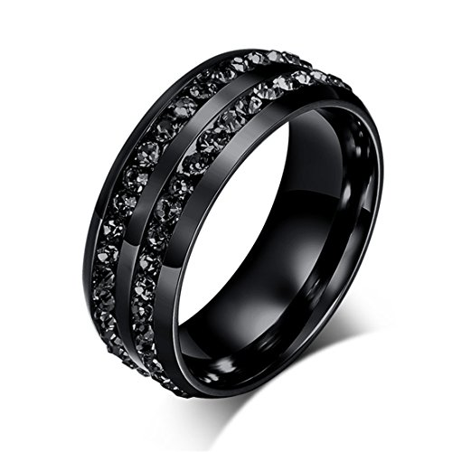 Goodful Schmuck Edelstahl Damen-ring Verlobungs-ring Freundschaftsring Herrenring Partnerring Mit Eternity Band Ring (Schwarz, 52-16,5(6))