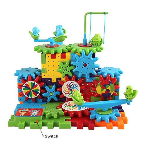 81 Pcs Interlocking Funny Building Blocks Bricks Electric Gear Building Toy Set Early Childhood Educational Souptoys - Motorized Spinning Gears for Children Kids Boys Girls