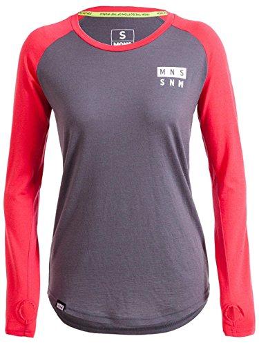 Damen Skiunterwäsche Mons Royale Merino Rocker Raglan Funktionsshirt LS Pink/Charcoal