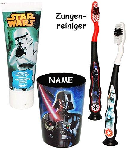 """4 tlg. Zahnputzset - """" Star Wars / Darth Vader """" - mit 2 Zahnbürsten & Zahnputzbecher & Zahncreme - Kinder & Baby _ hochwertige Borsten - Babyzahnbürste & Kinderzahnbürste für Jungen - zum Hinstellen / Zähne putzen - Zahnpasta Kleinkinder / Luke Skywalker Starwars - Zahnbürsten / Zähneputzen lernen - Saugnapf"""