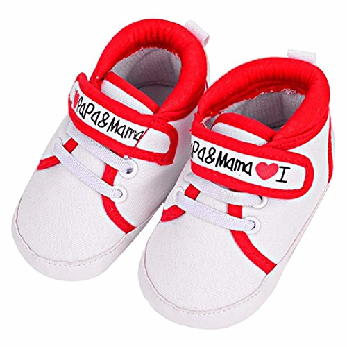 Auxma Niedlich Kind Baby Säugling Junge Mädchen weiche Sohle Kleinkind Schuhe Leinwand Sneak (12-18 Monat, Rot)