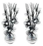 Flourish 796167 Fleurs artificielles en soie avec vase ovale pourpre noir violet 75cm, Verre, Pair of Silver/Black/white, 10x10x32 cm