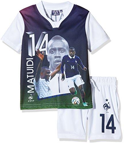 FFF EP1002 Matuidi - Conjunto de 2 piezas con pantalones cortos y camiseta de manga corta para niño, traje, color blanco, tamaño FR : 4 ans (Taille Fabricant : 4Y)