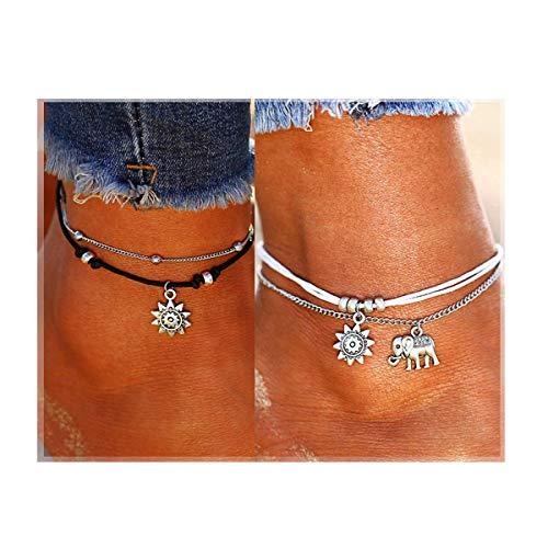 Lucbuy 2PCS Multi-Layer Charm catena del piede Boho Bracciale a strati cavigliera, Handmade Beach Catena a piedi Gioielli Elephant Girasole perline per le donne Ragazze