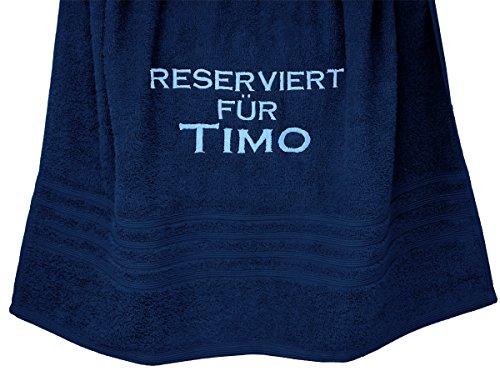 """Duschtuch mit Stickerei """"Reserviert für mit Wunschwort"""" Liegetuch 70x140 cm Marine - Blau (Marine-blau-strand-badetuch)"""