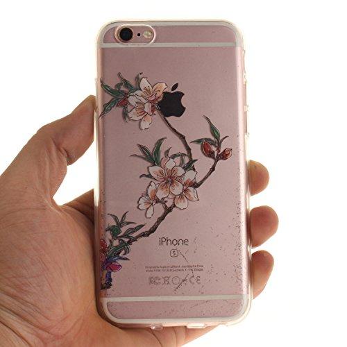 Pour iPhone 6 6S (4,7 Zoll) Coque,Ecoway Housse étui Flexible protection en TPU Silicone Shell Housse Coque étui creux Slim Case Cover Cuir Etui Housse de Protection Coque Étui iPhone 6 6S (4,7 Zoll)  Azalées